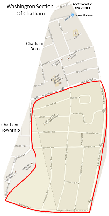 Map of Washington Section of Chatham, NJ