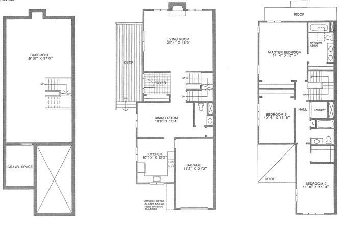 Amherst floor plan for Madison Commons townhouses for sale in Madison NJ
