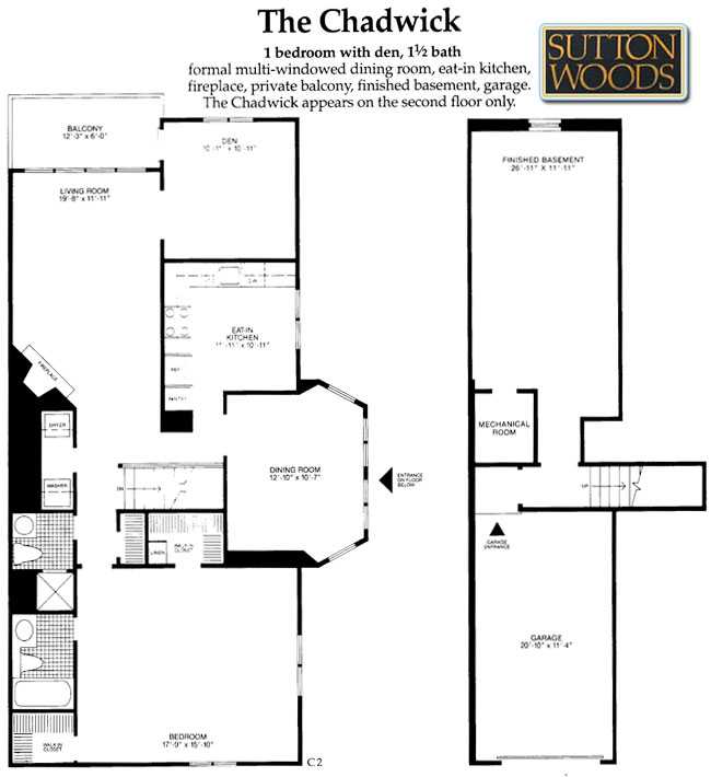 Chadwick floor plan, Sutton Woods Condos for sale in Chatham NJ