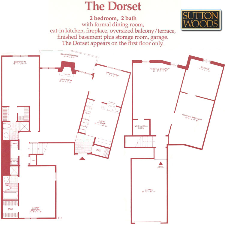 Dorset floorplan, Sutton Woods Condos for sale in Chatham NJ
