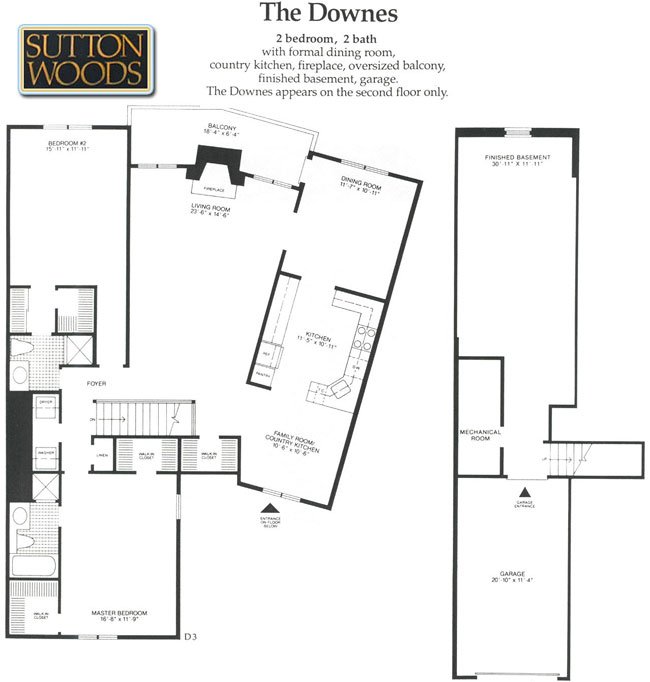Downes floor plan, Sutton Woods condos for sale in Chatham NJ