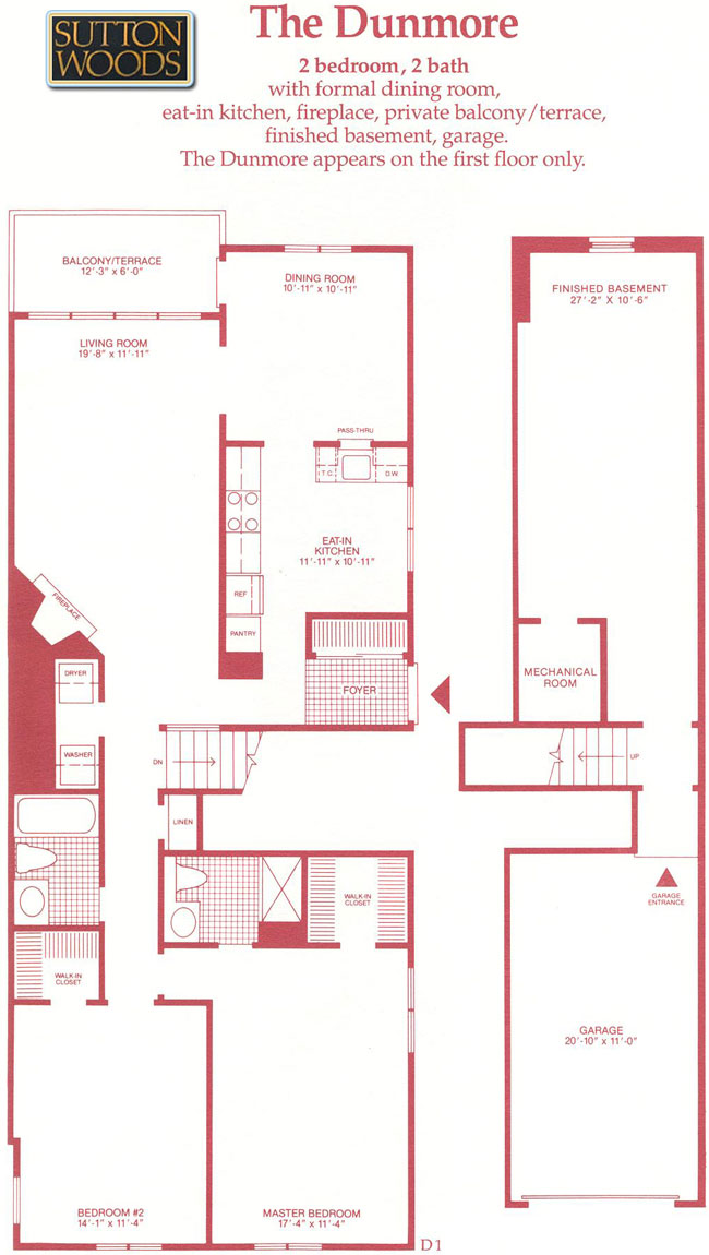 Dunmore floor plan, Sutton Woods Condos for Sale in Chatham NJ