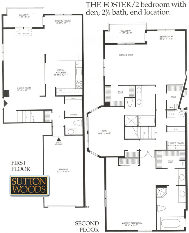 Foster floor plan, Sutton Woods condos in Chatham NJ