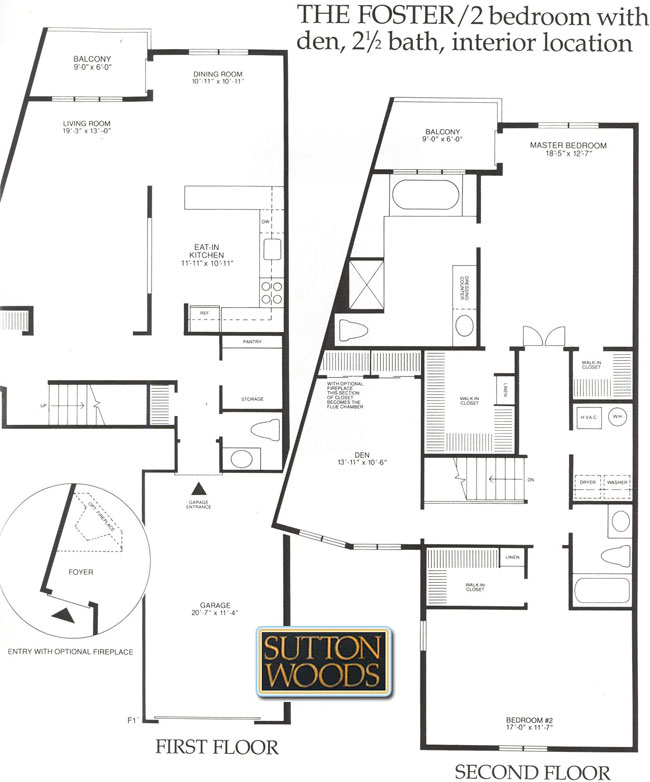 Foster floor plan, Sutton Woods Condos for Sale in Chatham NJ