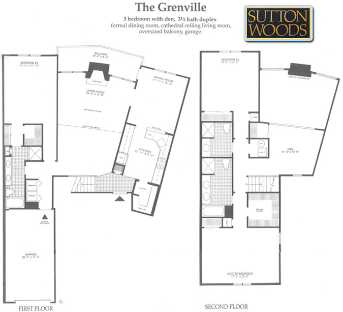 Grenville floor plan, Sutton Woods Condos for Sale, Chatham NJ