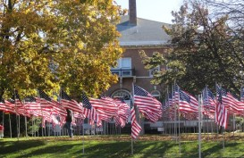 huntington town hall flags